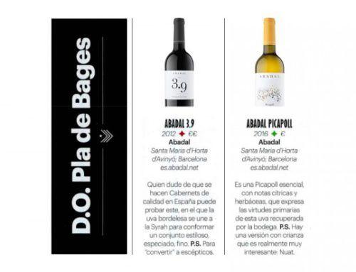 Abadal Picapoll y Abadal 3.9 en la guía de vinos 2018 de Conde Nast Traveler