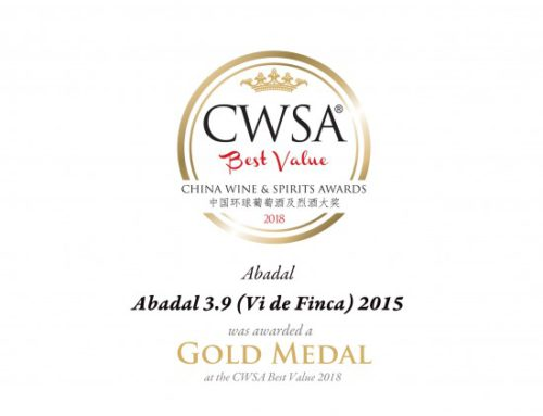 Gold medal for the Estate Wine; Abadal 3.9 Vi de Finca
