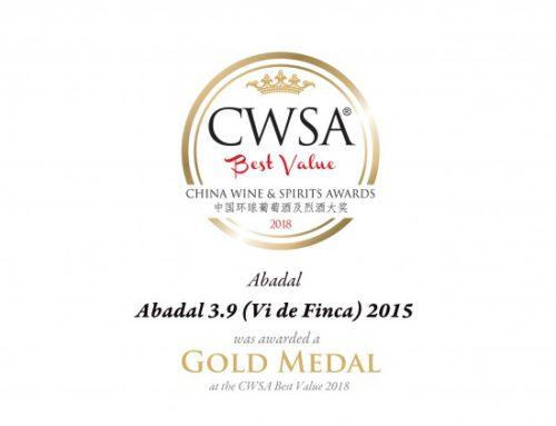 Gold medal for the Estate Wine; Abadal 3.9 Vi de Finca